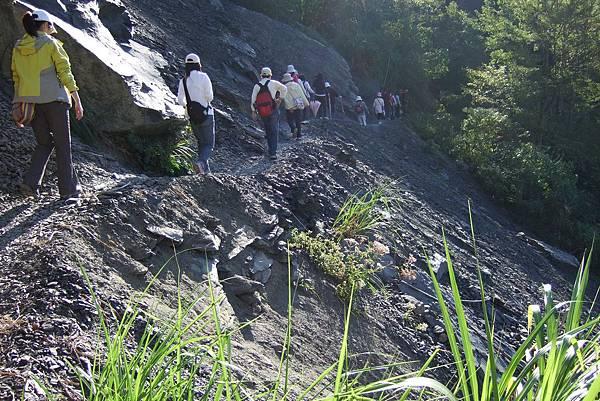 恐怖的礫石陡坡