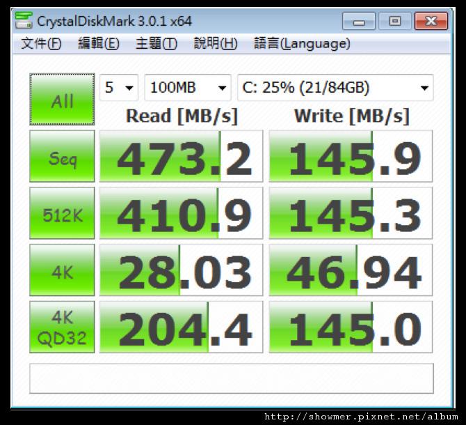 showmerCRYSTALDISKMARK 3.0.1X64 100MB