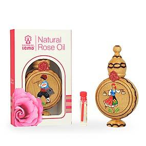 100% Natural Rose Oil (Rosa Damascema Mill) 1.0 ml in wooden bottle