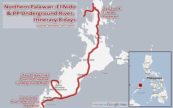 north palawan map