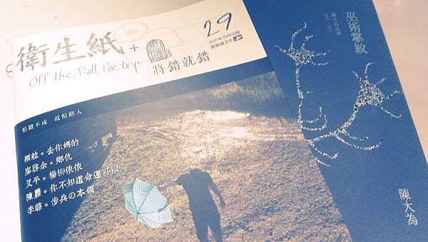沈眠在《衛生紙+29:將錯就錯》談陳大為《巫術掌紋》