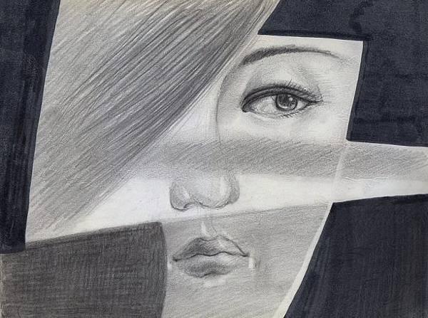 嫣紅的猜忌與聯想。劉信義繪。鉛筆/水墨。