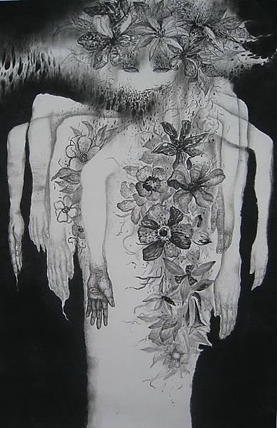 武裝:對王妻爭奪的想像。劉信義繪。水墨。