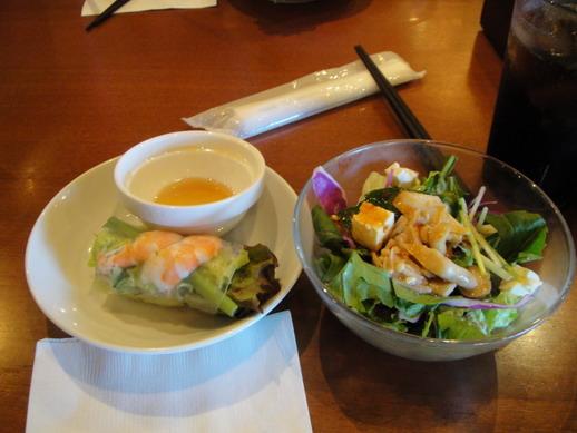 前菜 - 豆腐菇類沙拉和越南春卷