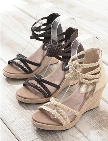 編織線條楔型厚底涼鞋