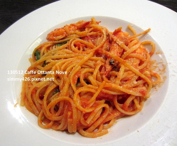 番茄醬汁鮮蝦麵