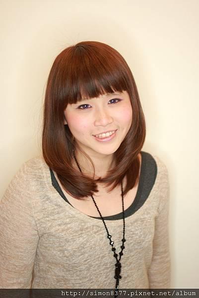 中長髮 J型燙 梨花頭