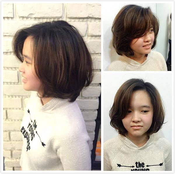 東區simon wang女生短髮燙髮作品