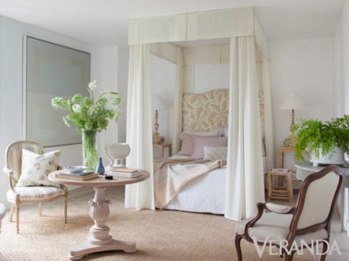 Veranda 美式風格 四柱床 床幔 米白色