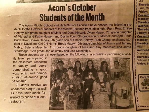 Ruth當選10月優秀學生,當地報紙報導