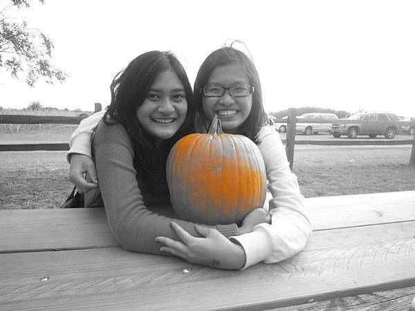 Vera with friend and pumpkin