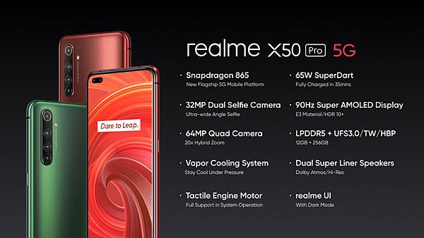 realme X50 Pro搭載Snapdragon 865、6400萬鷹眼變焦四鏡頭、3200萬超廣角雙前鏡頭、90Hz Super AMOLED以及65W SuperDart超級閃充。.png