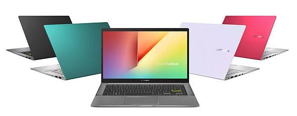ASUS VivoBook S14,S15推出嶄新的四款獨特色彩—幻彩白、搖滾黑、魔力紅、主旋綠。.jpg