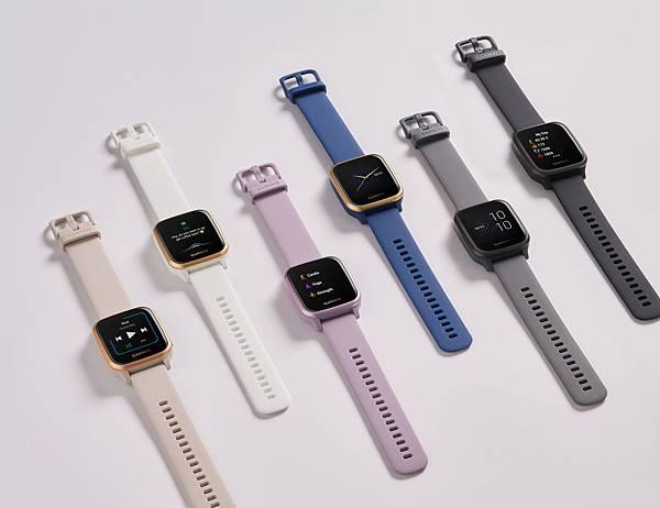 Garmin Venu Sq GPS智慧腕錶提供石墨黑、白砂玫瑰金、藏青藍、深碳灰、純白香檳金和淺灰紫等六款豐富配色,超輕量多彩外型滿足消費者日常搭配需求。.jpg
