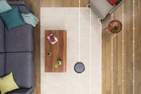 圖說:Roomba i3+ 環繞式感應器,幫助機器人有條不紊以S形規律路徑全面覆蓋,100%橫縱交叉清潔地板,不漏掃任何區域。.jpg