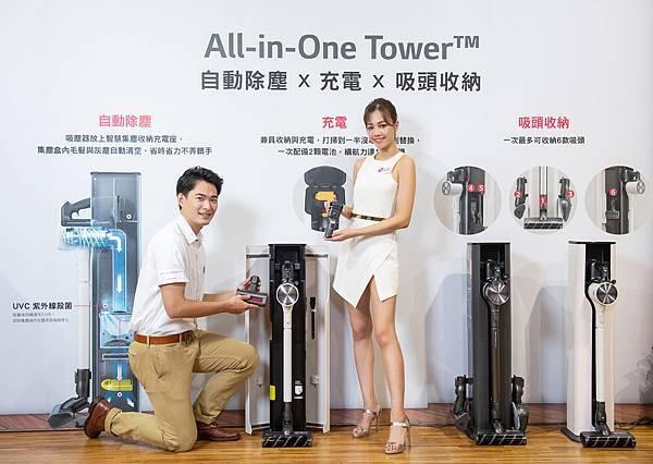 A9 T系列 All-in-One Tower™ 智慧集塵收納充電座,簡約時尚的機身隱形收納6款吸頭,輕鬆維持乾淨整潔的空間。.jpg