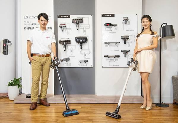 因應各式環境需求,提供不受限的清潔體驗,LG A9 T系列All-in-One濕拖無線吸塵器備有6款旗艦級吸頭,靈活運用於各種居家空間,清潔不再處處受限。.jpg
