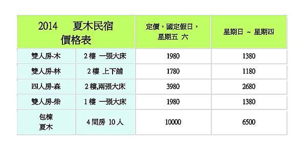 2014夏木民宿價格-暑假