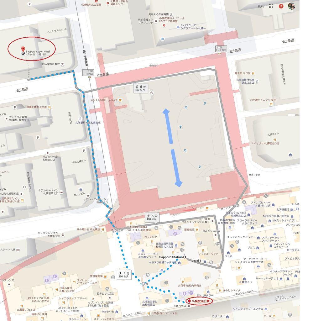 JR札幌車站步行至札幌亞斯本酒店ASPEN HOTEL SAPPORO路線.jpg