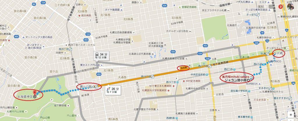 3 美月櫻mituki sakura到北海道神宮步行地鐵路線.jpg