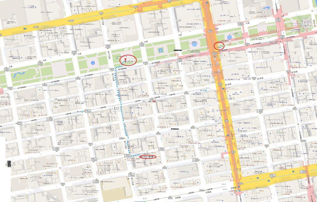 4 地鐵大通站至大通公園和狸小路商店街步行路線.jpg