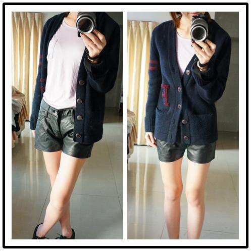 紫針織皮褲2