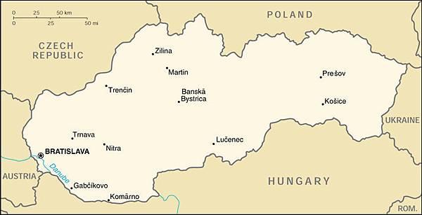 斯洛伐克地圖