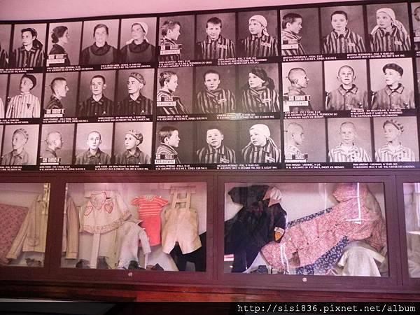 猶太孩童的衣物及檔案照片