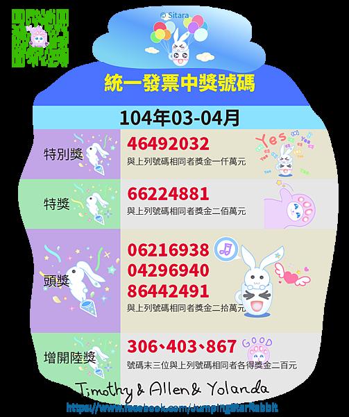 LINE - 2015(104年)03.04月統一發票中獎號碼