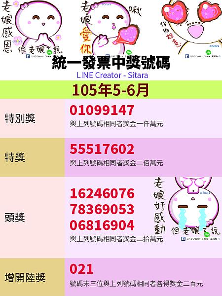 LINE - 2016(105年)5.6月統一發票中獎號碼
