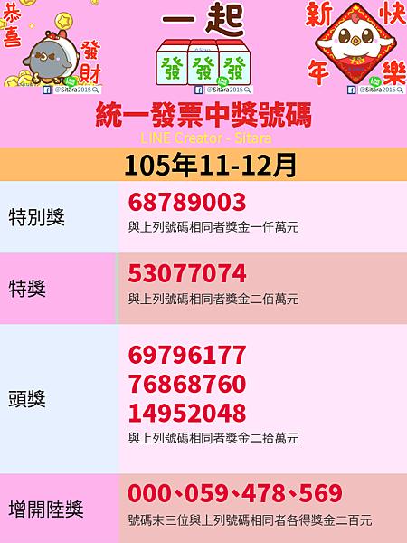 LINE - 2016(105年)11.12月統一發票中獎號碼