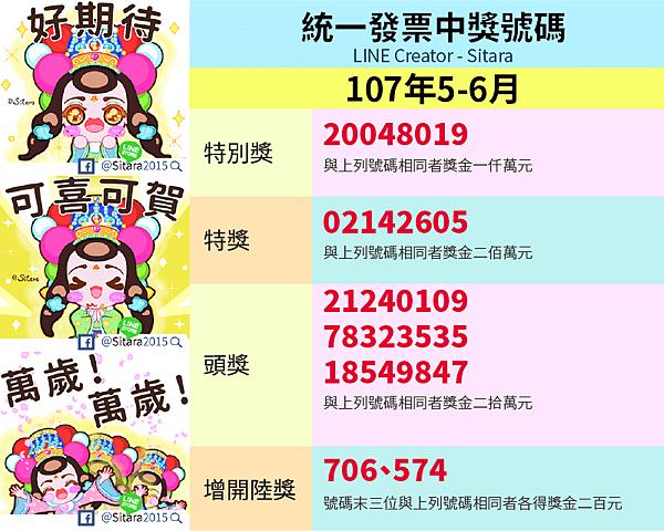 LINE - 2018(107年)5.6月統一發票中獎號碼