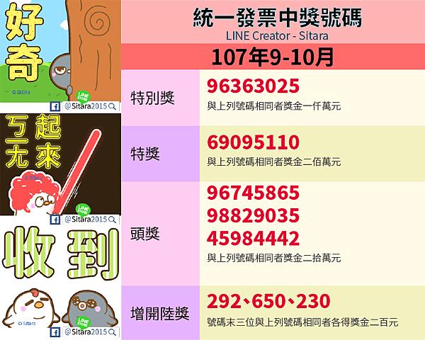 LINE - 2018(107年)9.10月統一發票中獎號碼