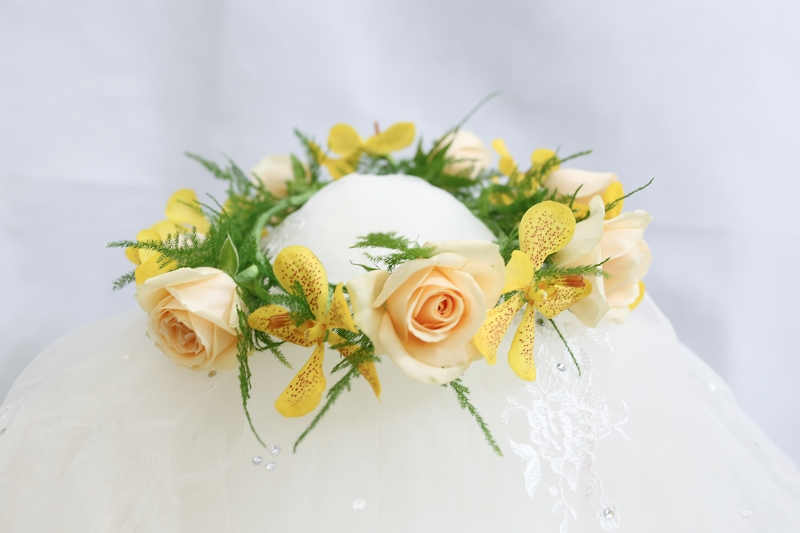鮮花新秘Yuki│鮮花飾品│新娘花圈│花環