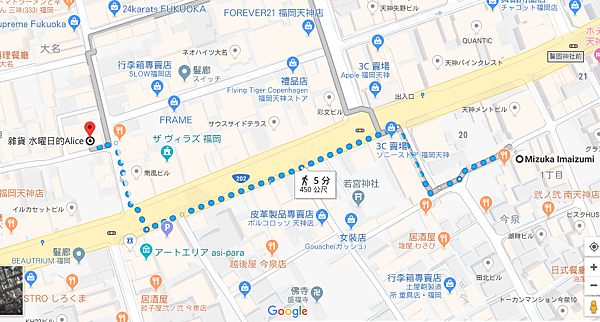 日本九州福岡住宿推薦mizuka Daimyo地圖位置.PNG