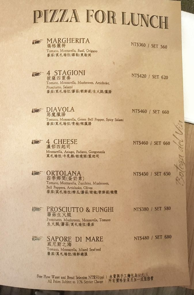 Botega del vin菜單