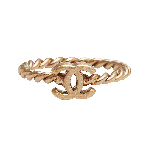 CHANEL 經典金屬小香LOGO麻花圈造型戒指(霧金#2) 7700