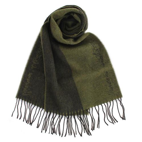 Vivienne Westwood 雙色草寫LOGO素面羊毛圍巾-綠色 2880