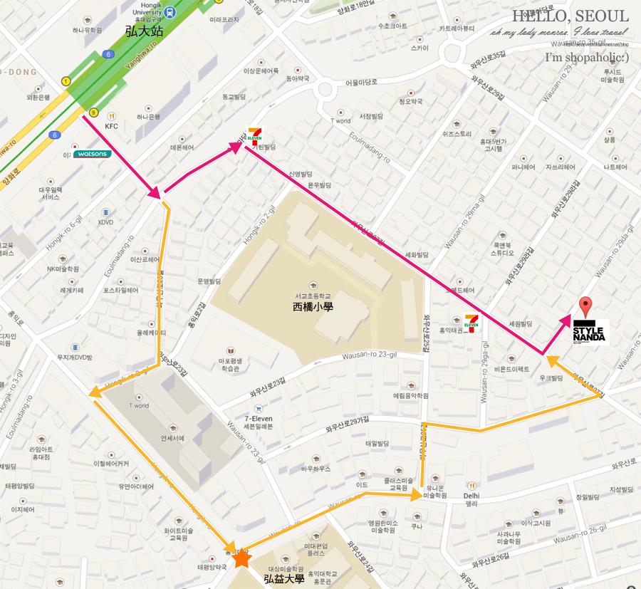 弘大3CE地圖