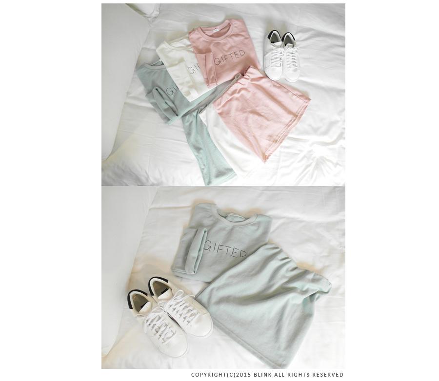 BLICK GIFTED細英文T恤+短窄裙成套組