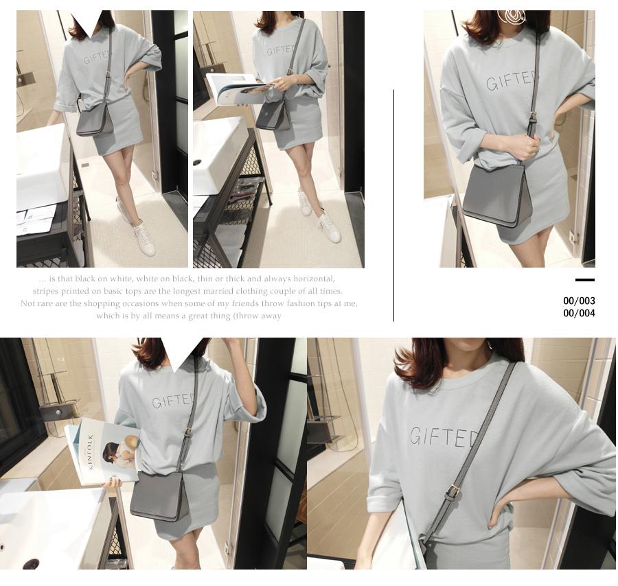 BLICK GIFTED細英文T恤+短窄裙成套組2