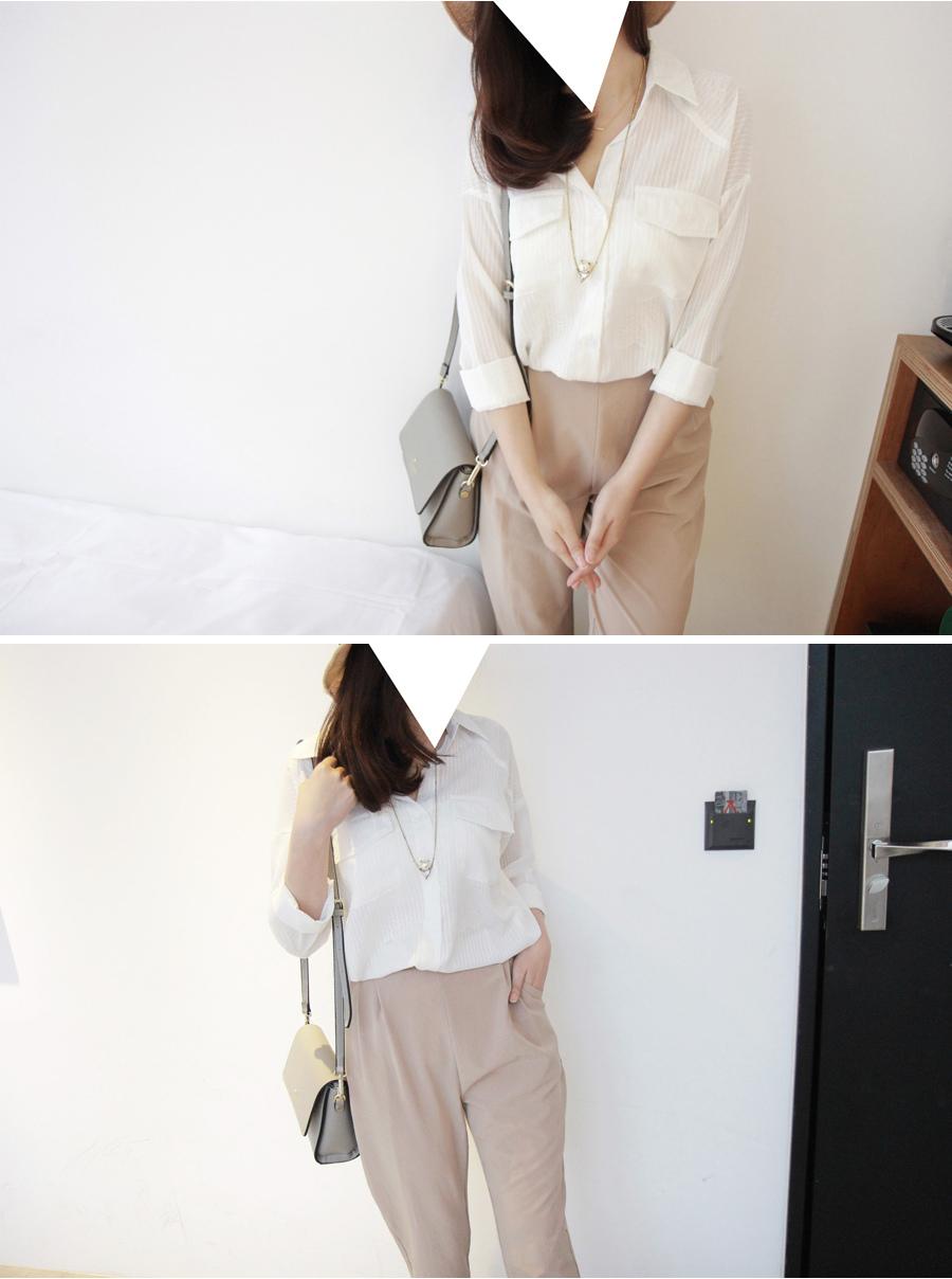 blink 半透明細緞帶直條紋雙口袋雪紡襯衫