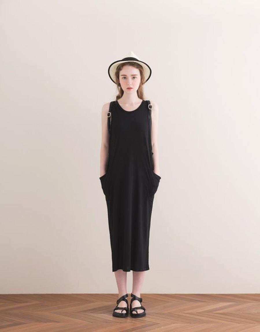 PAZZO 韓妞寬鬆款側邊口袋洋裝