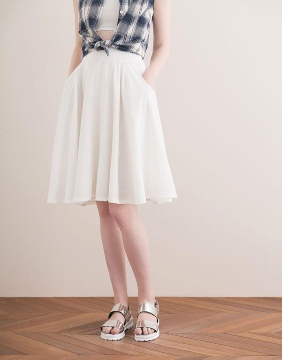 PAZZO 韓系甜美ONI雪紡及膝裙
