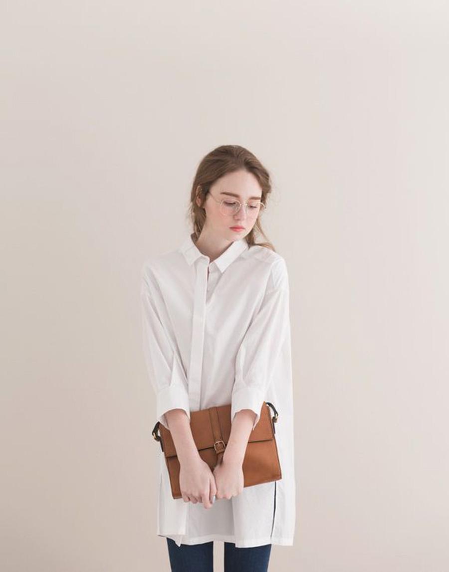 PAZZO 韓系簡約寬鬆長版襯衫