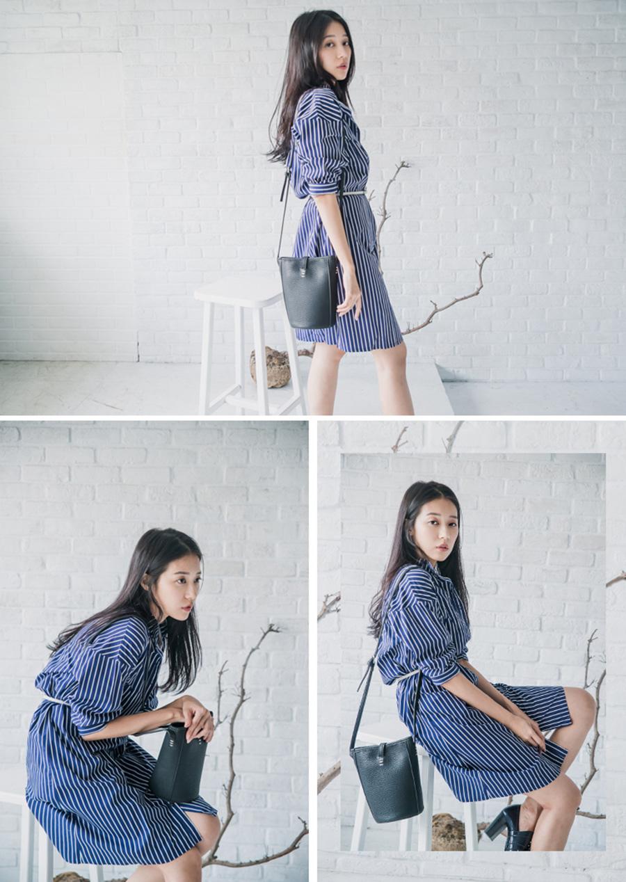 starmimi 直紋小立領襯衫洋裝