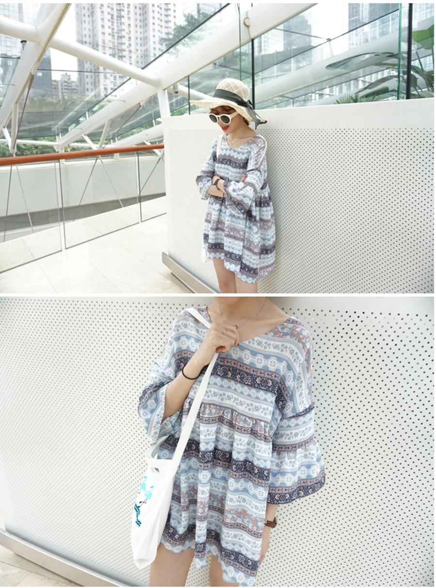 最小的海 韓國小清新V領後背鏤空荷葉袖連衣裙名族娃娃裙
