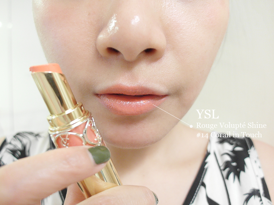 Make up - orange - lipstick - 05 - YSL - rouge volupte shine - Corail In Touch