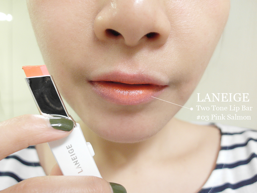 Make up - orange - lipstick - 15 - laneige - two tone lip bar - 3 pink salmon