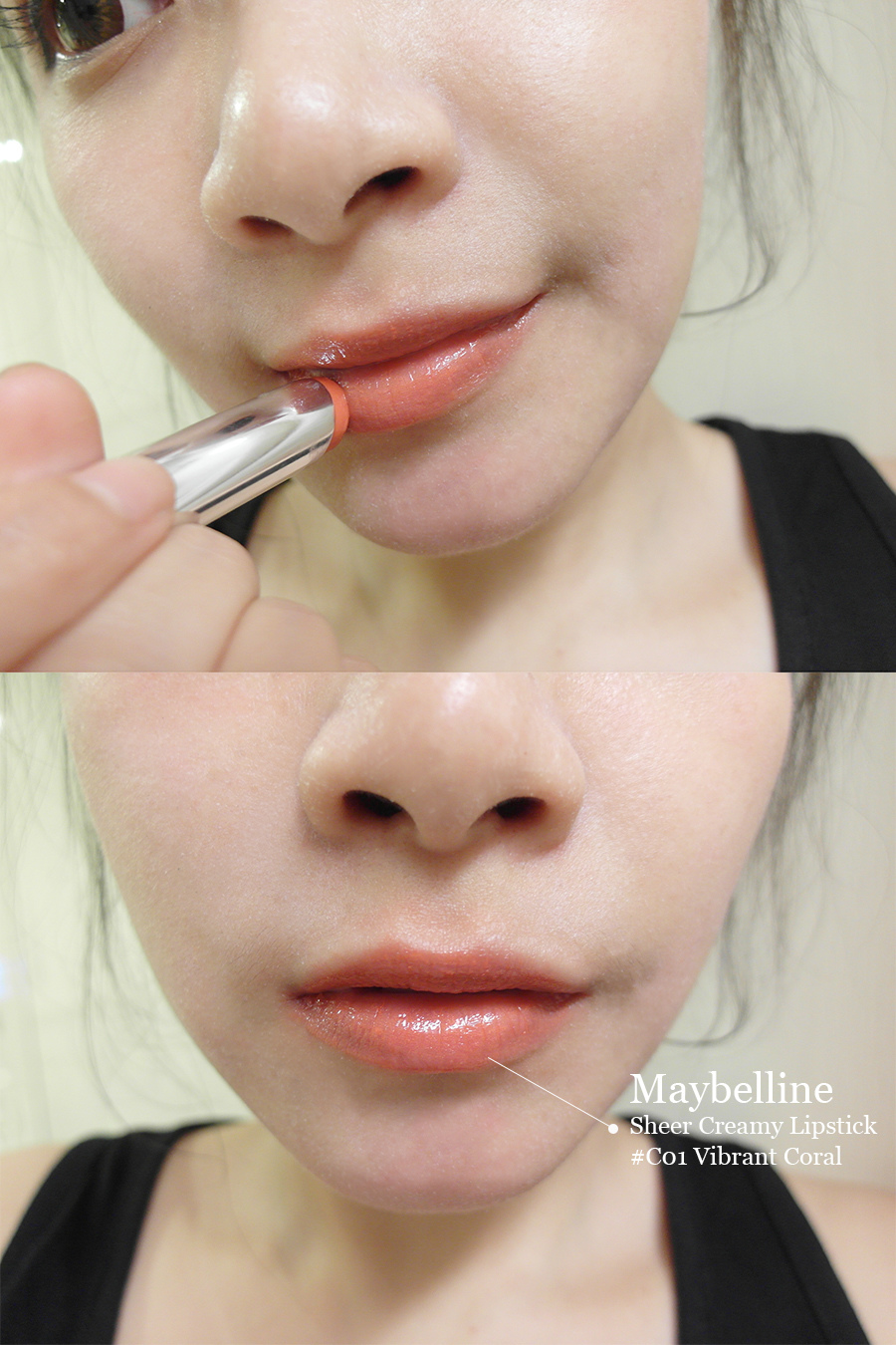 Make up - orange - lipstick - 29 - maybelline - sheer creamy lipstick # c01  - vibrant coral